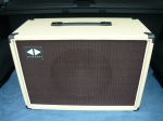 Blue Mood 1x12 cab in blonde with oxblood grille